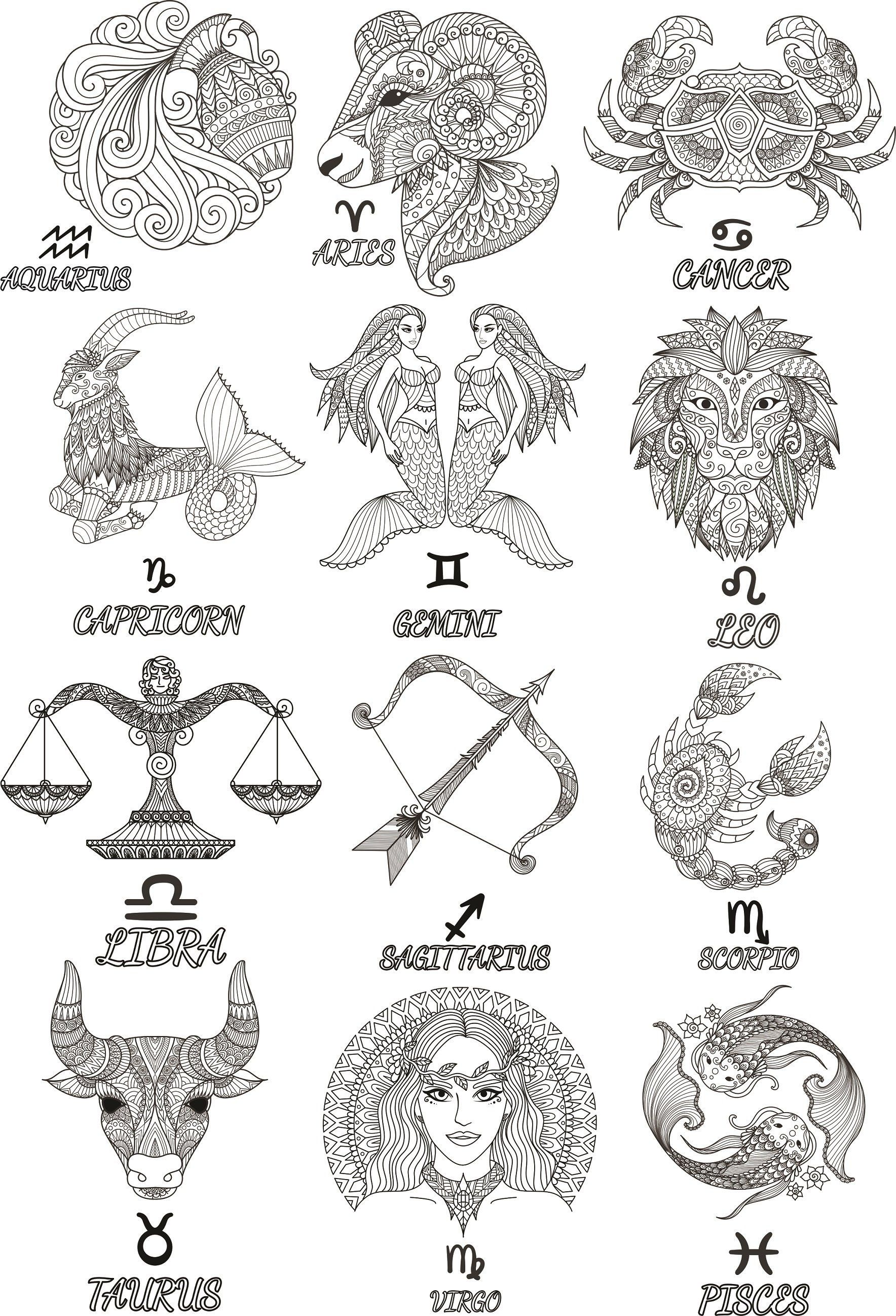 Printable Art Download Stickers Capricorn Zodiac SignsDigital Stickers SVG File
