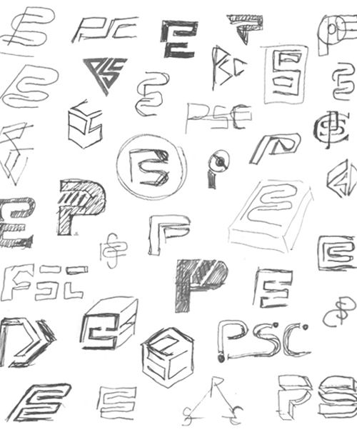 Thumbnail sketch sheet. A great variety of different designs for logos