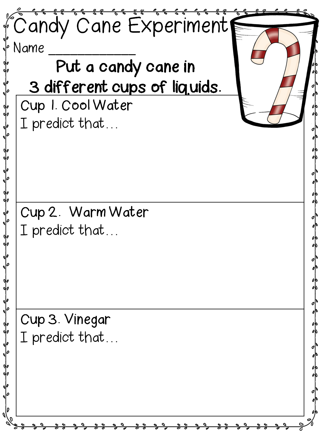 Candy Cane Experiment (free; from First Grade Wow) | Science ...
