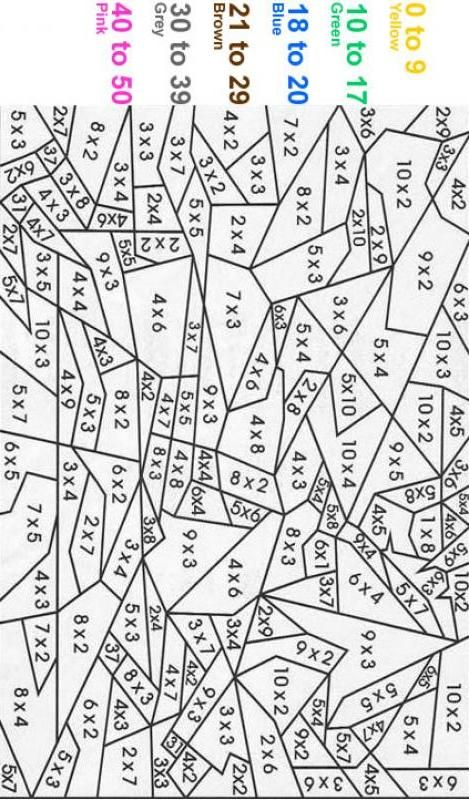 Multiplication ColorByNumber Free Printable Coloring Pages