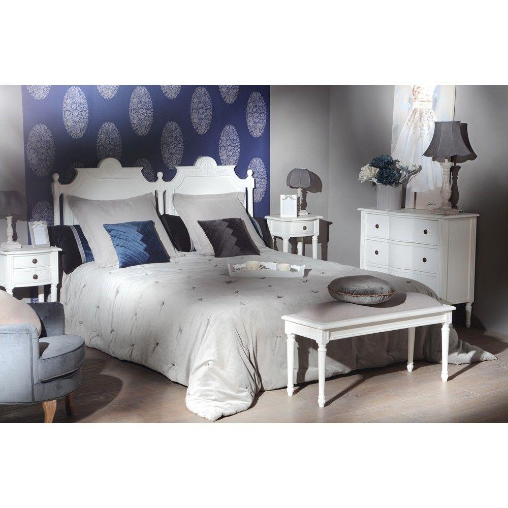 Tête de lit Classique Chic AGATHE L 175 X H 125 X P 5 Blanc Antique ...