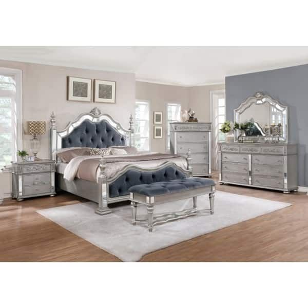 Best quality furniture glam grey 4 piece bedroom set queen quality furniture bed furniture and bedrooms