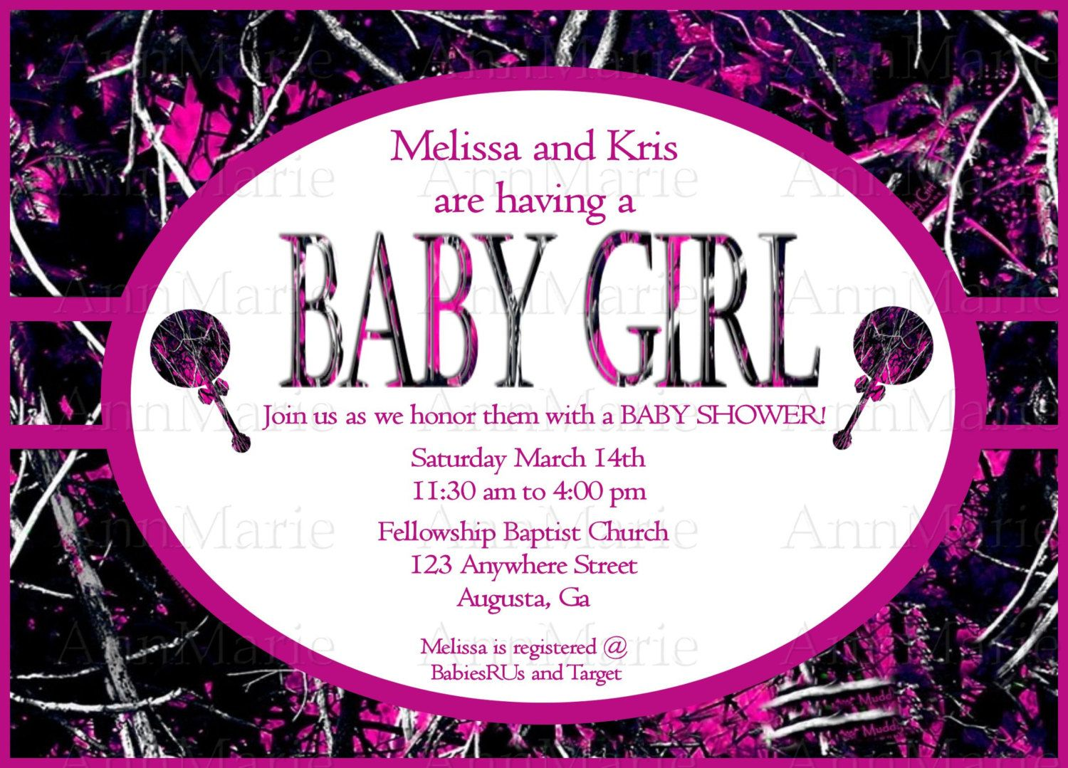 Muddy Girl Camo Baby Girl Shower Invitation, Pink Muddy Girl Baby ...