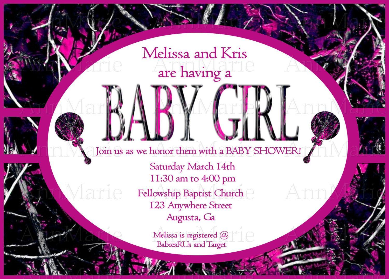Muddy Girl Camo Baby Girl Shower Invitation, Pink Muddy Girl Baby ...