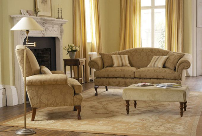 Marlborough Sofa In Sanderson Lymington Damask Sable Sofas - Damask living room furniture