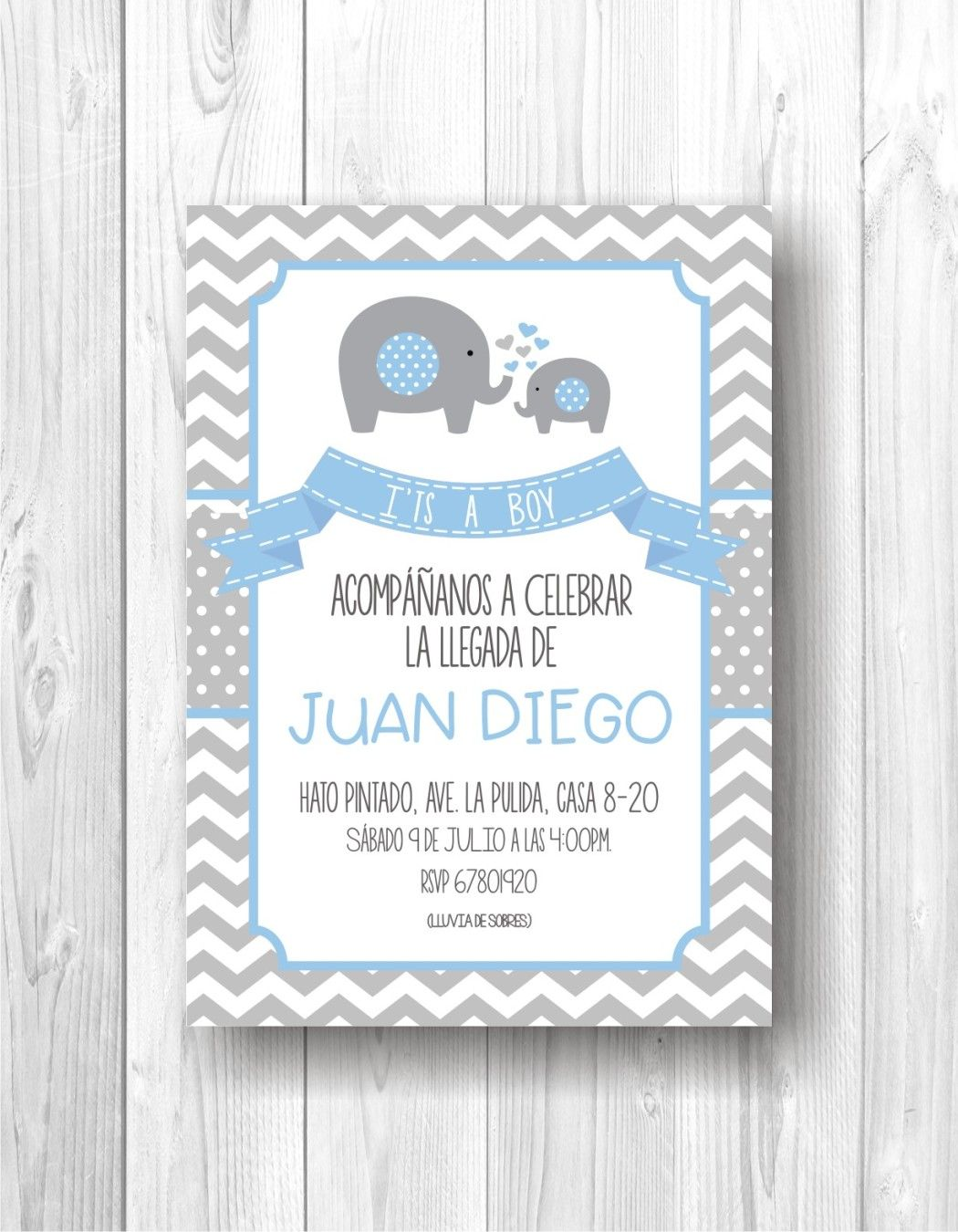 Digital invitation for baby shower, invitation baby shower boy, boy ...