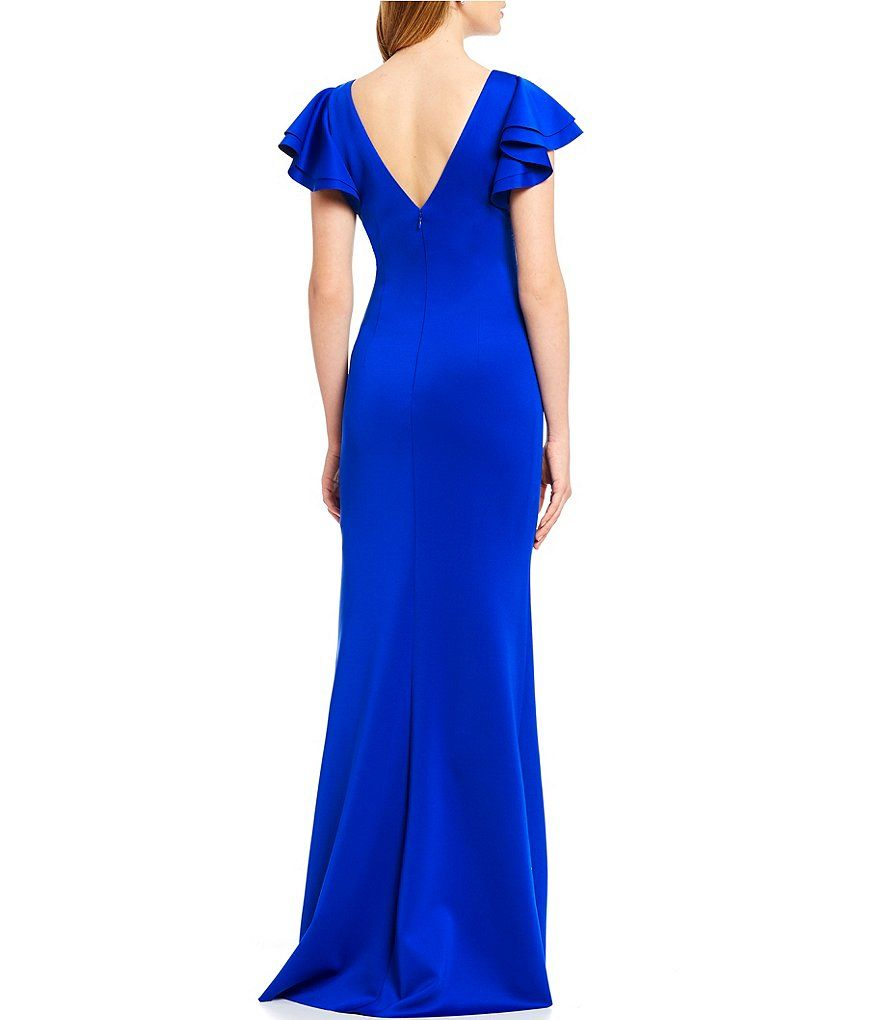 4070b79f46f Color:Cobalt - Image 2 - Jessica Howard Ruffle Sleeve Side Tuck Long Gown