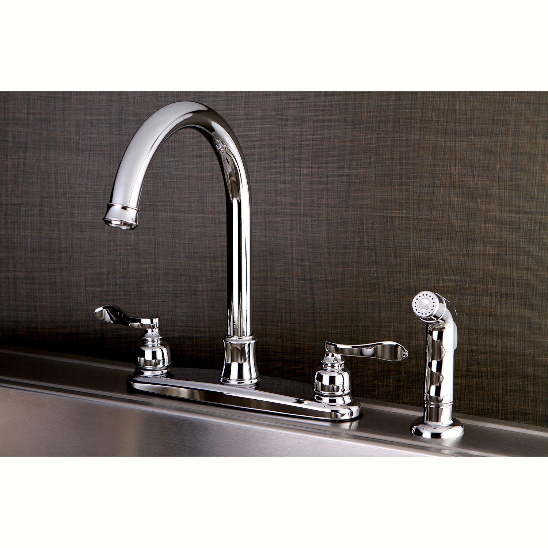 Kingston Brass Designer Chrome Kitchen Faucet with Side Sprayer ...