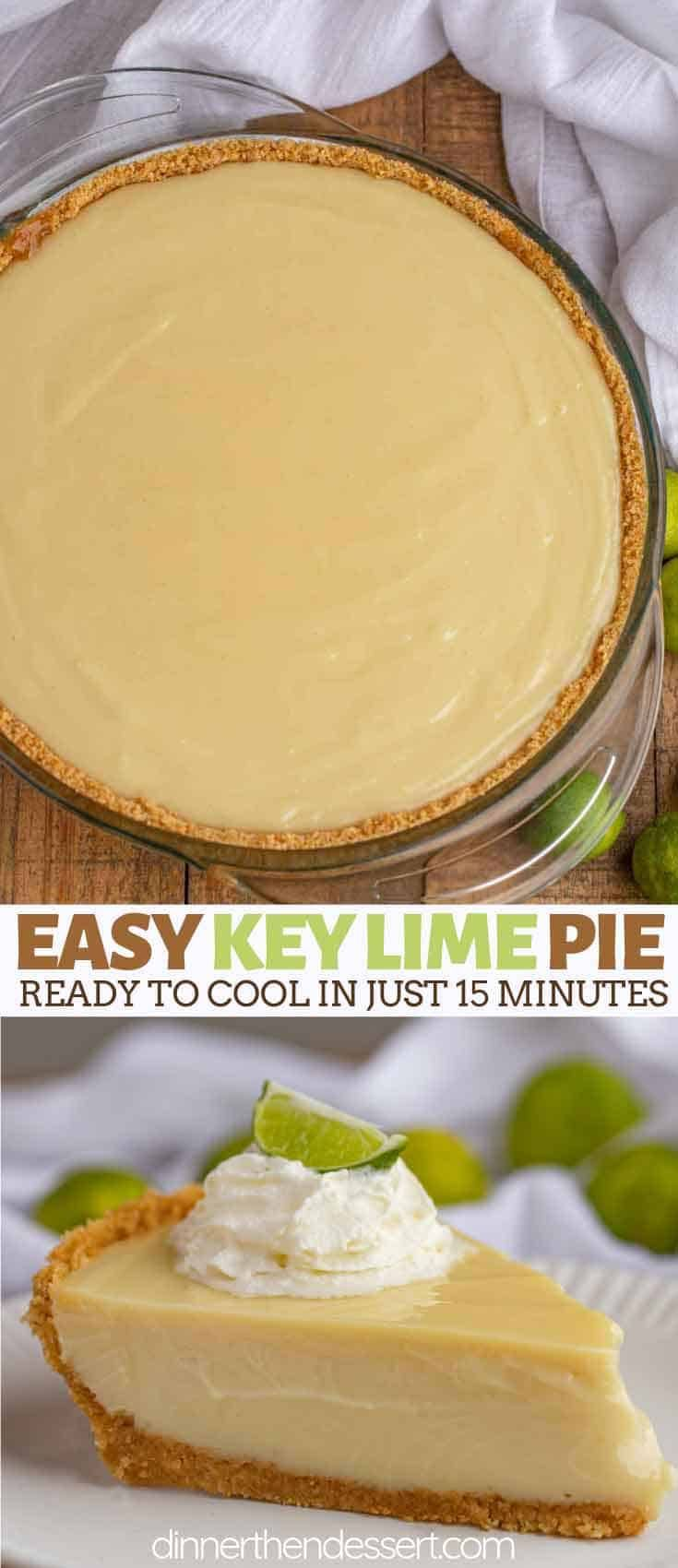 Easy Key Lime Pie with just six ingredients, the entire recipe is done and ready to cool in just 15