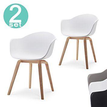 Romeo Lot de 2 chaises avec accoudoirs tendance rétro - salle a