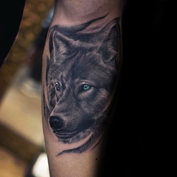 Shaded wolf with blue eyes mens inner forearm tattoo for Wolf eyes tattoo designs