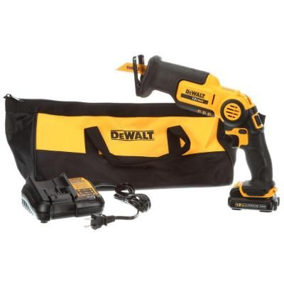 Dewalt 12 Volt Max Lithium Ion Cordless Pivoting Reciprocating Saw Kit With Battery 1 5ah Charger And Contractor Bag Dcs310s1 Dewalt Reciprocating Saw Dewalt Tools