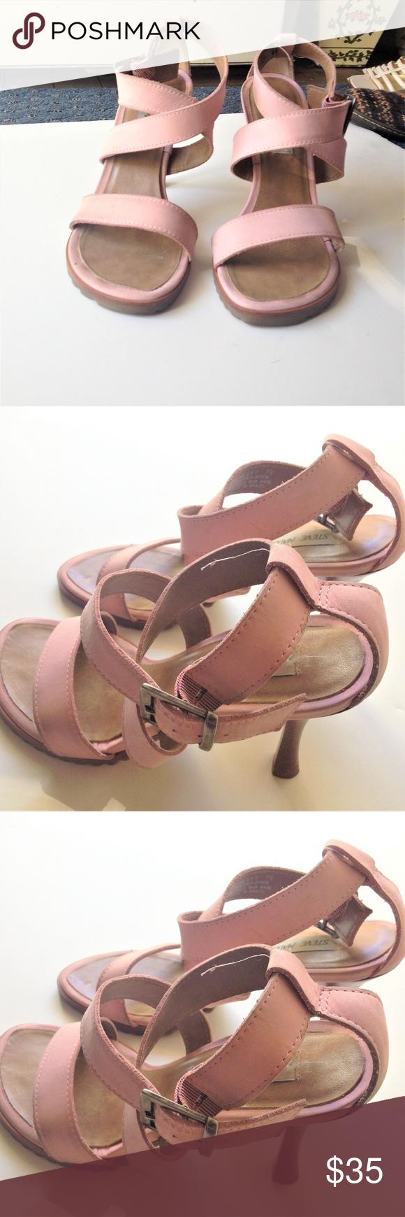 cfc0574ce5d Steve Madden Pink Strap Heel Sandal Shoes Sz 7 Lovely with X ankle strap  design.