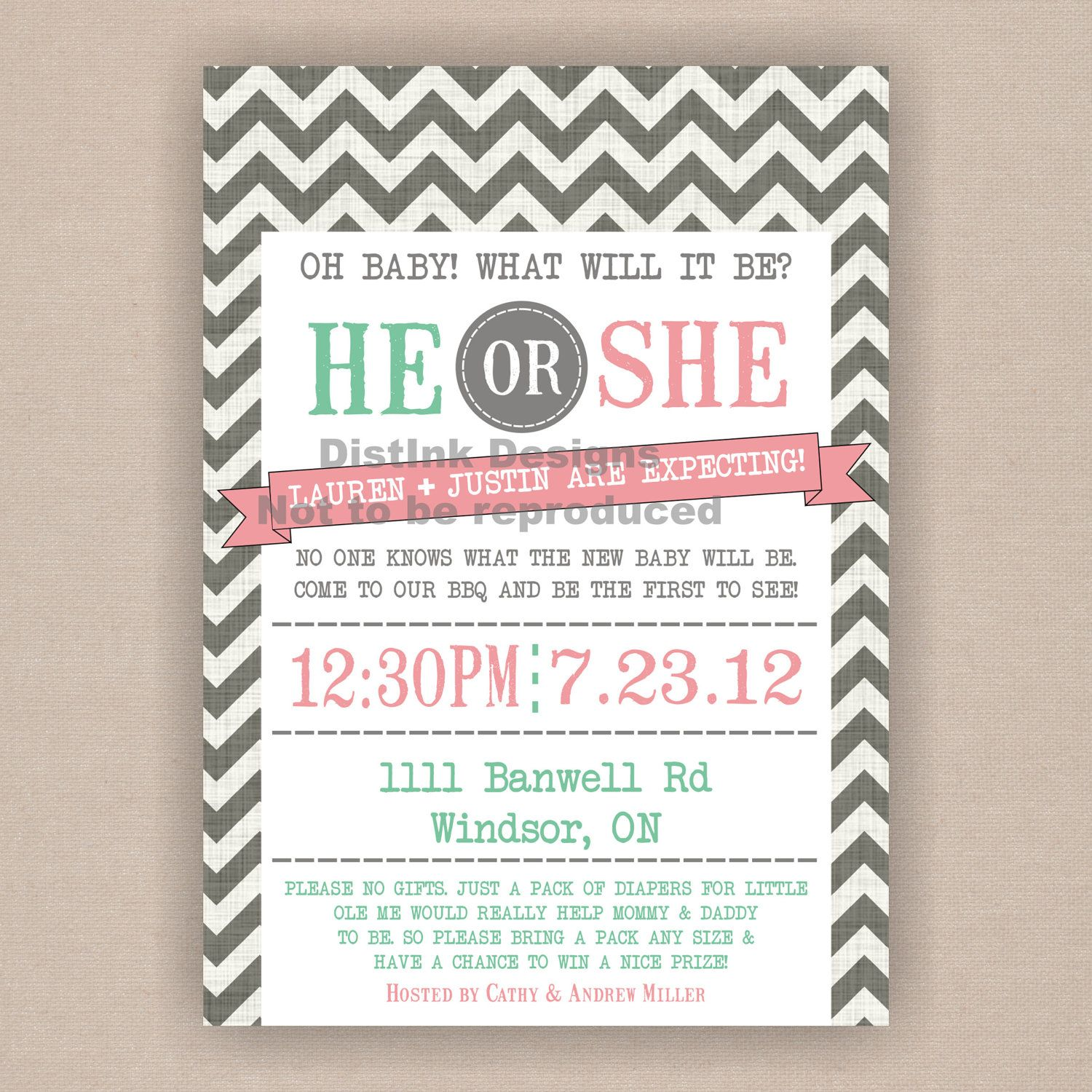 Gender Revealing, Reveal Baby Shower, Party Invitation Cast your ...