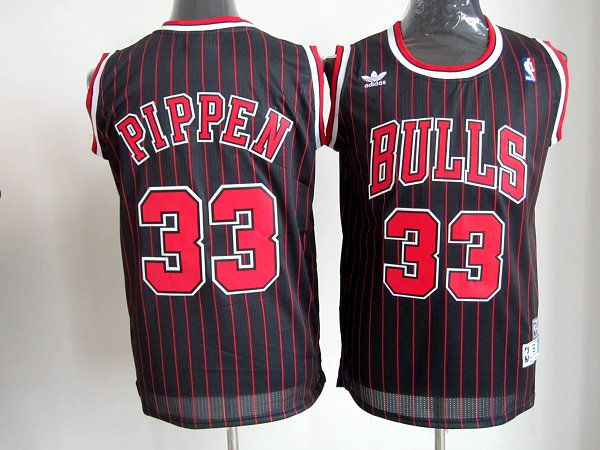 Adidas NBA Chicago Bulls 33 Scottie Pippen Black Red Stripe Throwback Red  Stripe Swingman Jersey 106913400