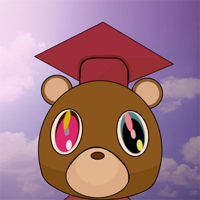 The College Dropout Vs The Rap Star Djbooth Kanye West Graduation Bear Kanye West Graduation Cap Kanye West Graduation