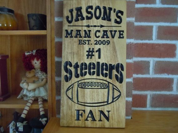 Man Cave Sign Personalized Wooden Stained Carved by TKWoodcrafts