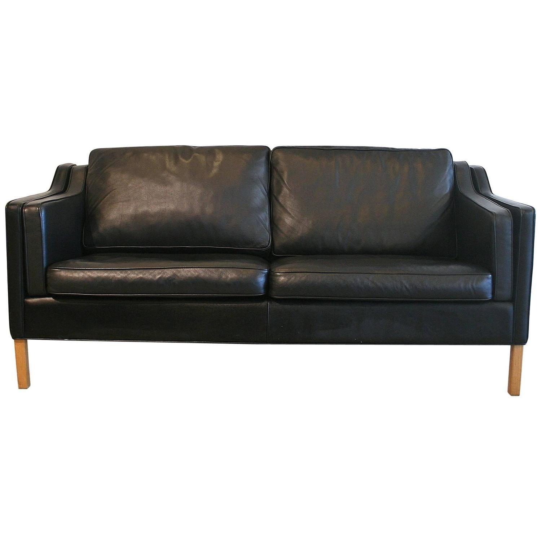Vintage Danish Black Leather Sofa   f o r t h e o a k s   Leather ...