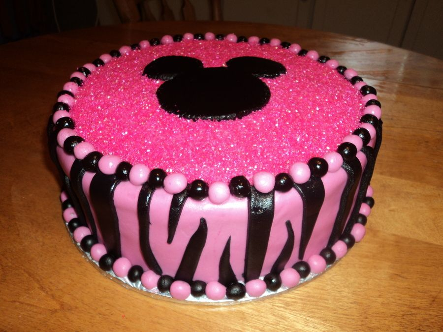 Minnie Mouse Zebra print cake for sweet little Gracies first