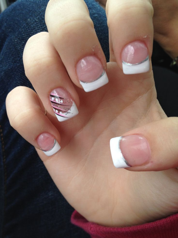 French Tip Acrylic Nail Designs White French Tip Manicure With A Silver Line French Tip Acrylic Nails Acrylic Nail Tips Nail Tip Designs