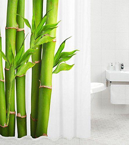 Textil DUSCHVORHANG 180x200cm Bambus mit Stein Grün Weiß inkl - bambus im wohnzimmer