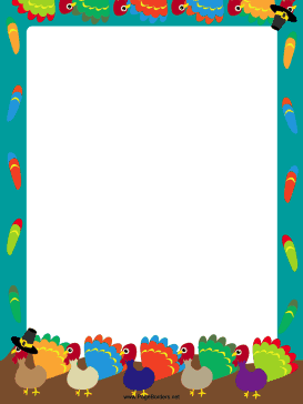 This free printable border features colorful feathers and turkeys