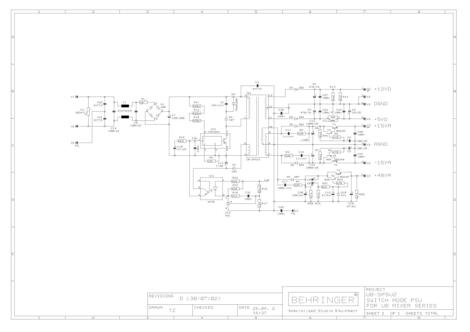 Behringer Ub Spsu2 Power Supply Ub Mixer Power Supply Power Mixer