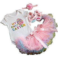 AISHIONY 4PCS Baby Girl Newborn My 1st Easter Tutu Onesie Outfit Skirt Dress XL