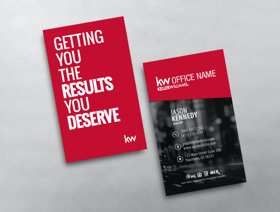 This vertical Keller Williams business card displays a big message ...