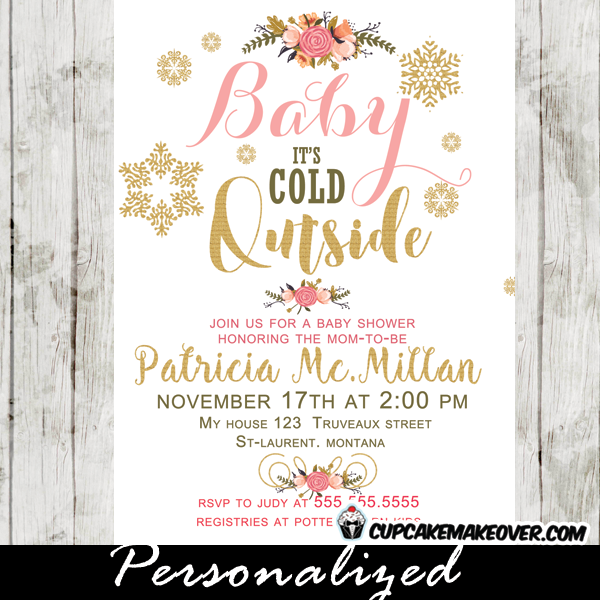 Winter Baby Shower Invitations, Pink Peach Floral Bouquet, Baby It's Cold Outside