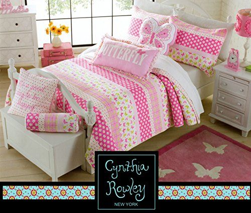 toddler bedding cynthia rowley 2pc quilt set daisy day pink green cotton floral butterfly girl