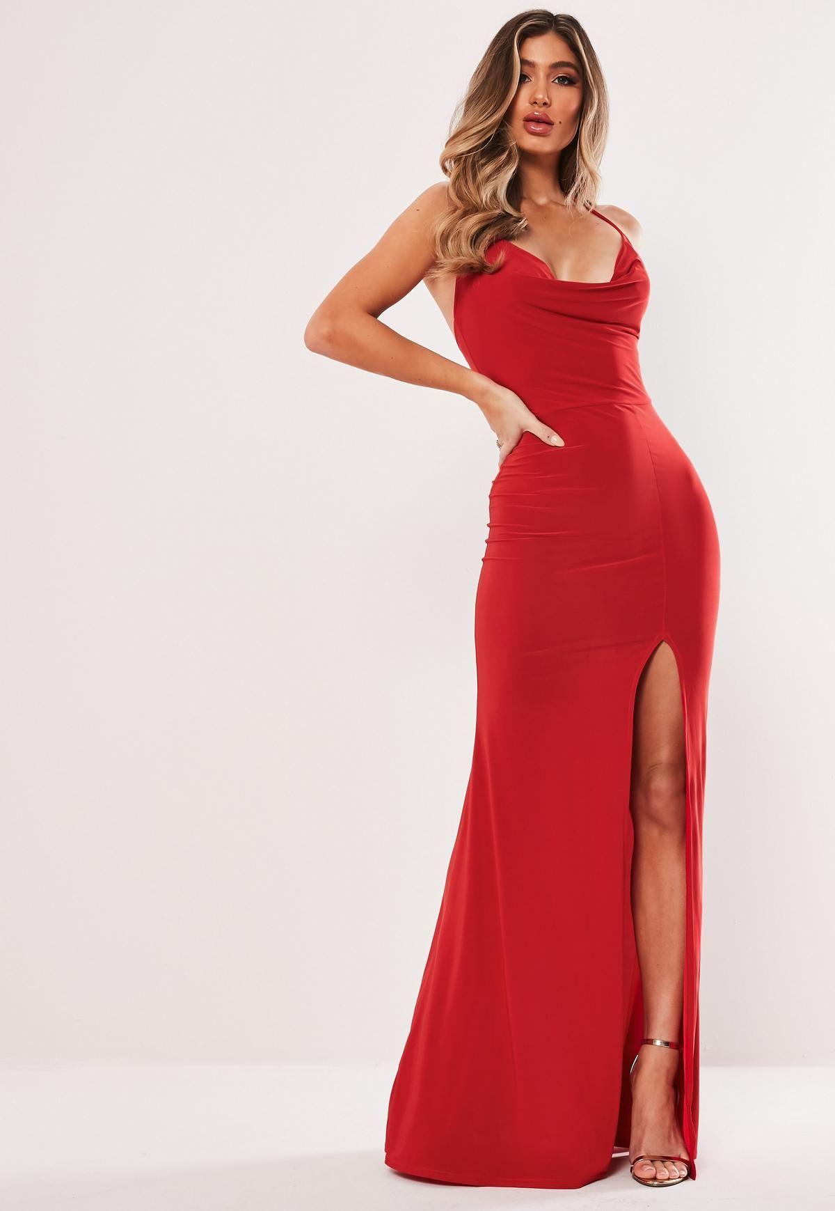 Red Slinky Cowl Neck Split Detail Maxi Dress Missguided Bodycon Maxi Dresses Red Bodycon Dress Dresses