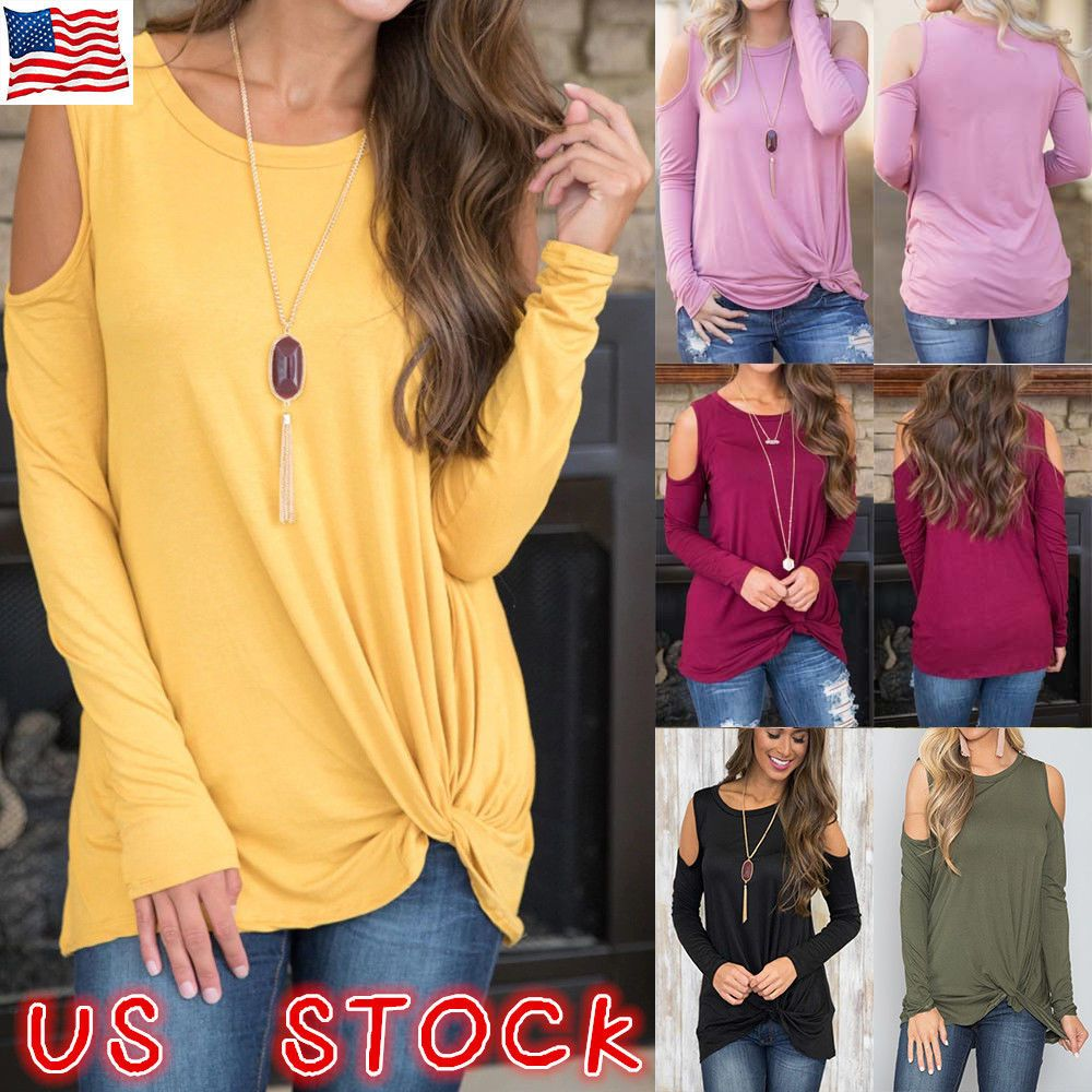 1ca87c31ed2e7 US-DEALS US Womens Cold Shoulder Pearls Long Sleeve Tops Blouse Ladies  Casual T Shirt Tee   10.84 End Date  Tuesday Oct-30-2018…% USDeals%