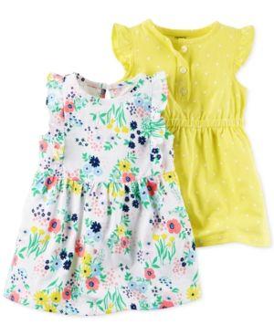 602068e7adc5 Carter's 2-Pk. Floral-Print & Dot-Print Flutter-Sleeve Dress Set, Baby  Girls (0-24 months) - Yellow 24 months