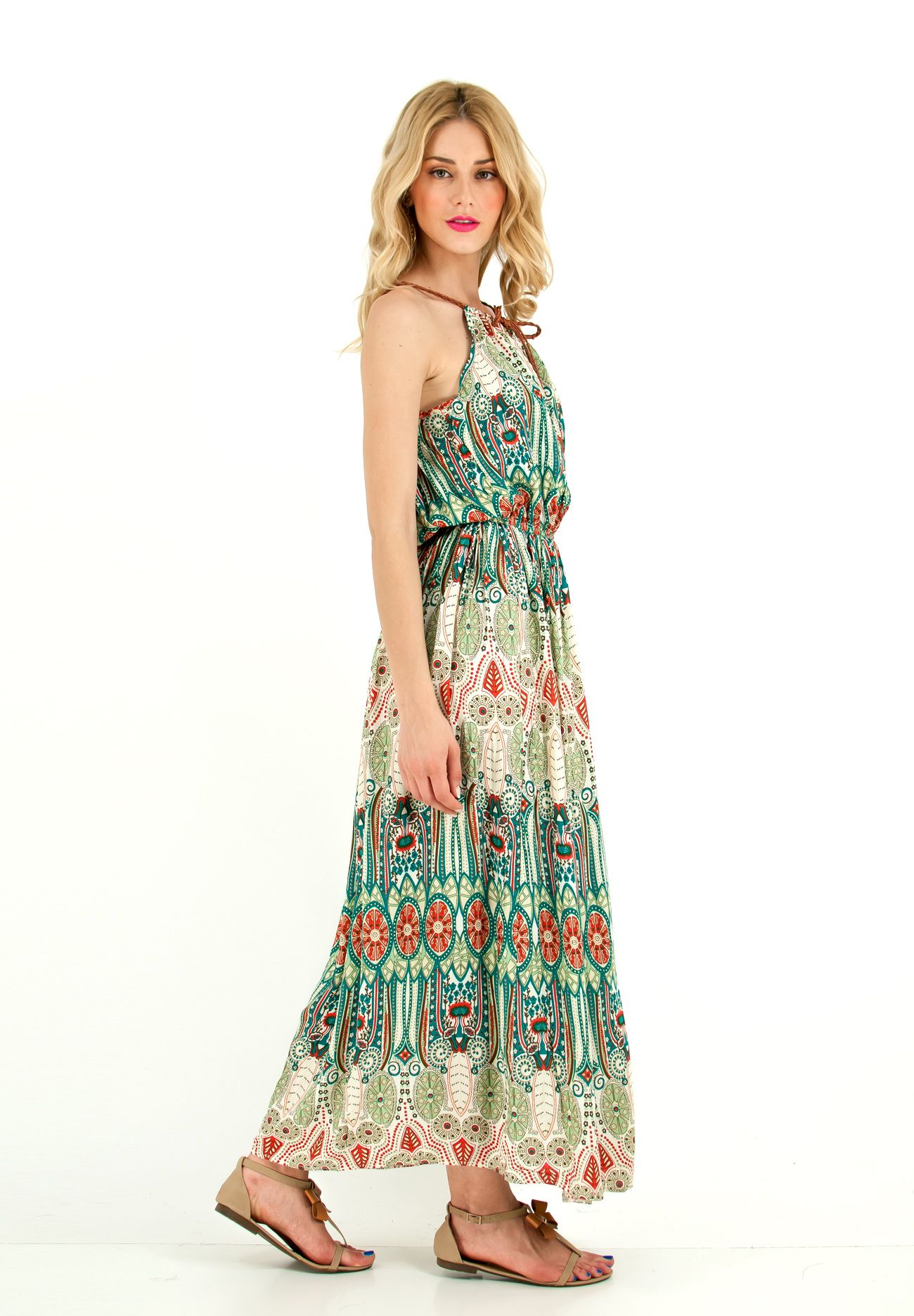 8a7cd7fa291 Μακρύ αμάνικο εμπριμέ φόρεμα με δερμάτινες λεπτές τιράντες και ...