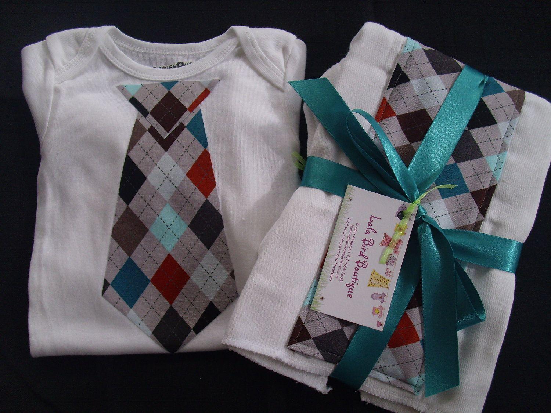 Baby boy gift set 3 piece argyle by lalabirdboutique on