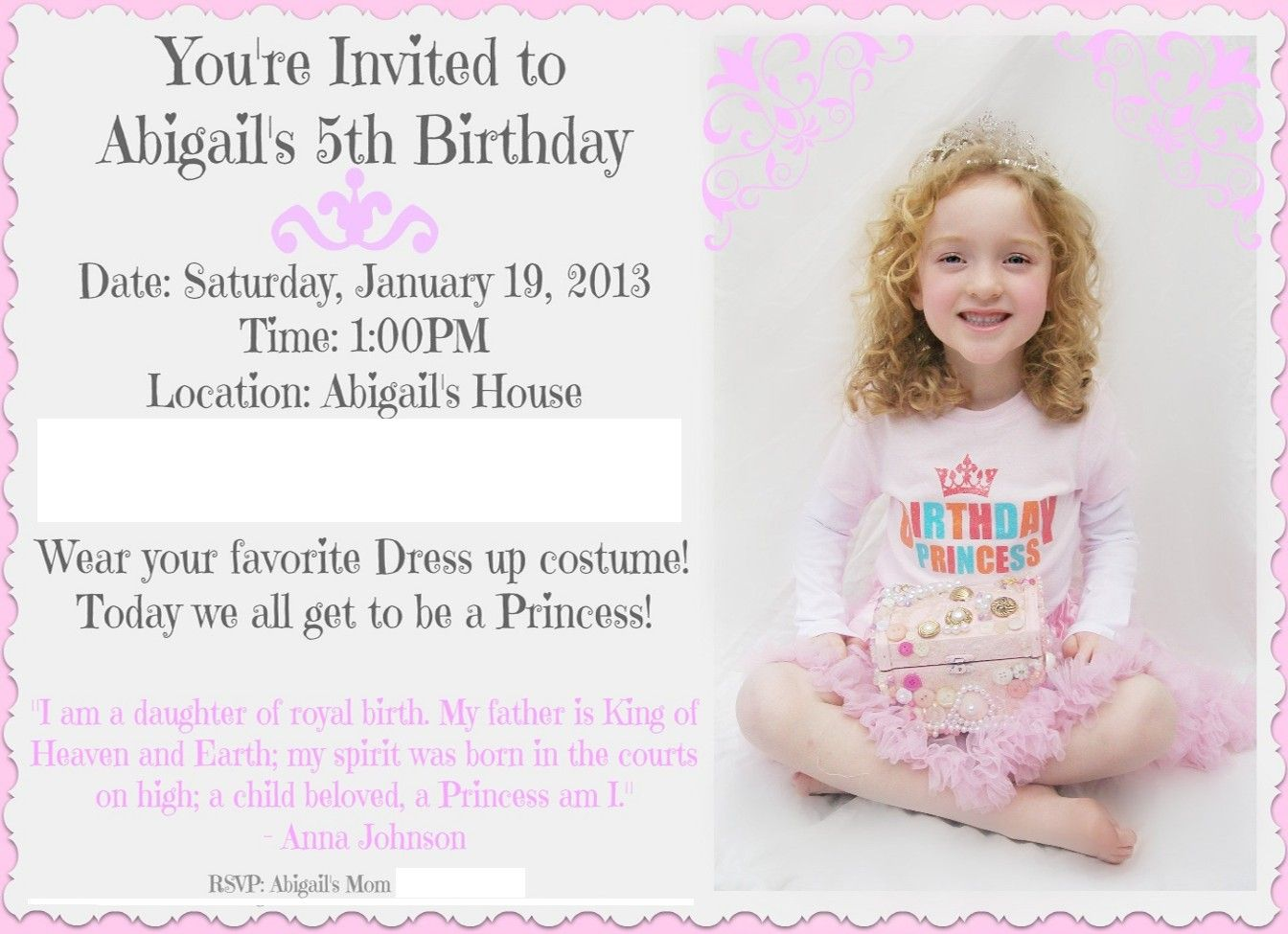 Invitation i made for my daughters birthday gods little invitation i made for my daughters birthday gods little princess stopboris Image collections