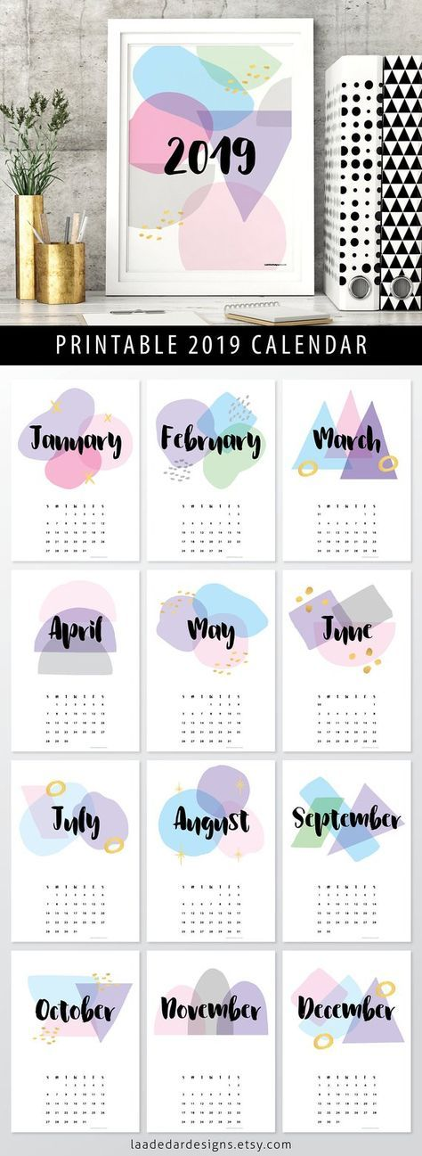 2019 Printable Calendar A4 - Instant Download - 12 Month New year ...