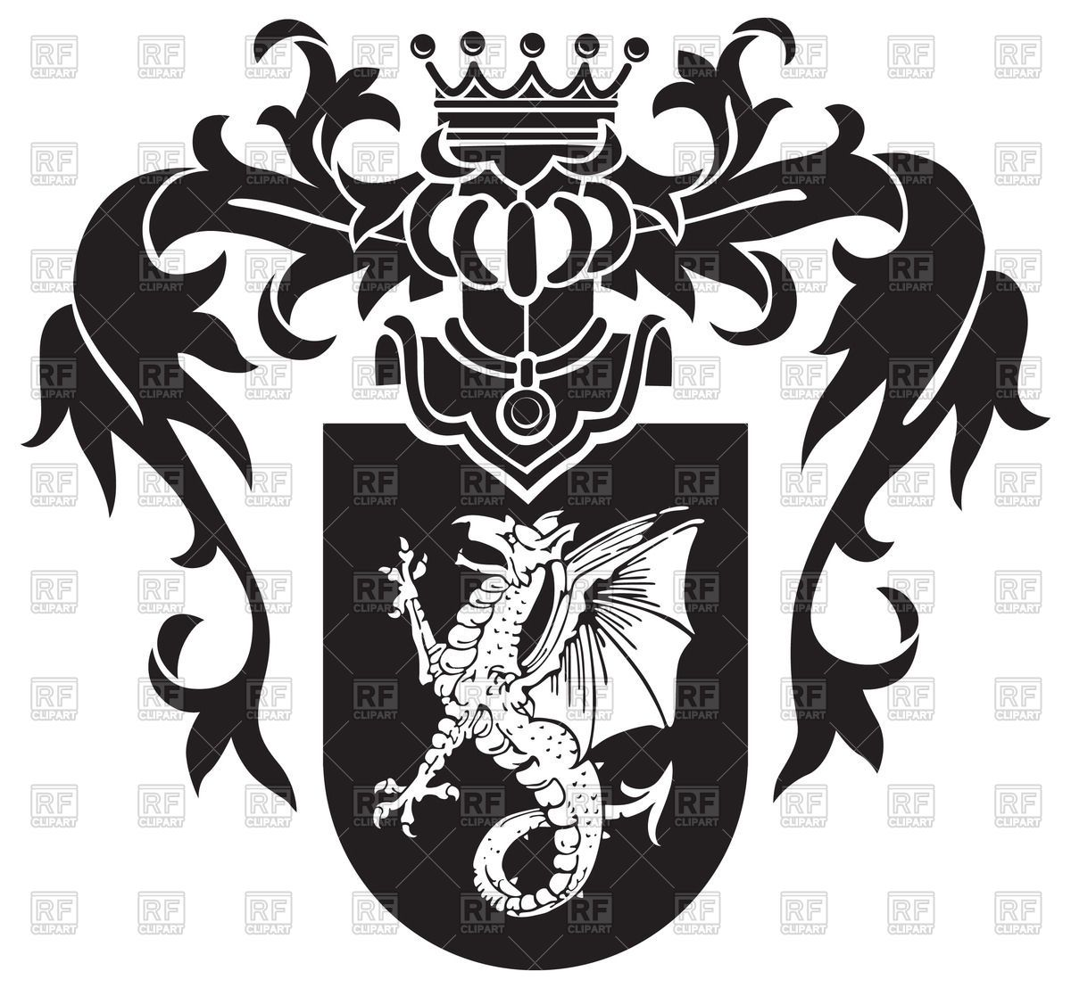 medieval heraldic coat of arms with wyvern on shield