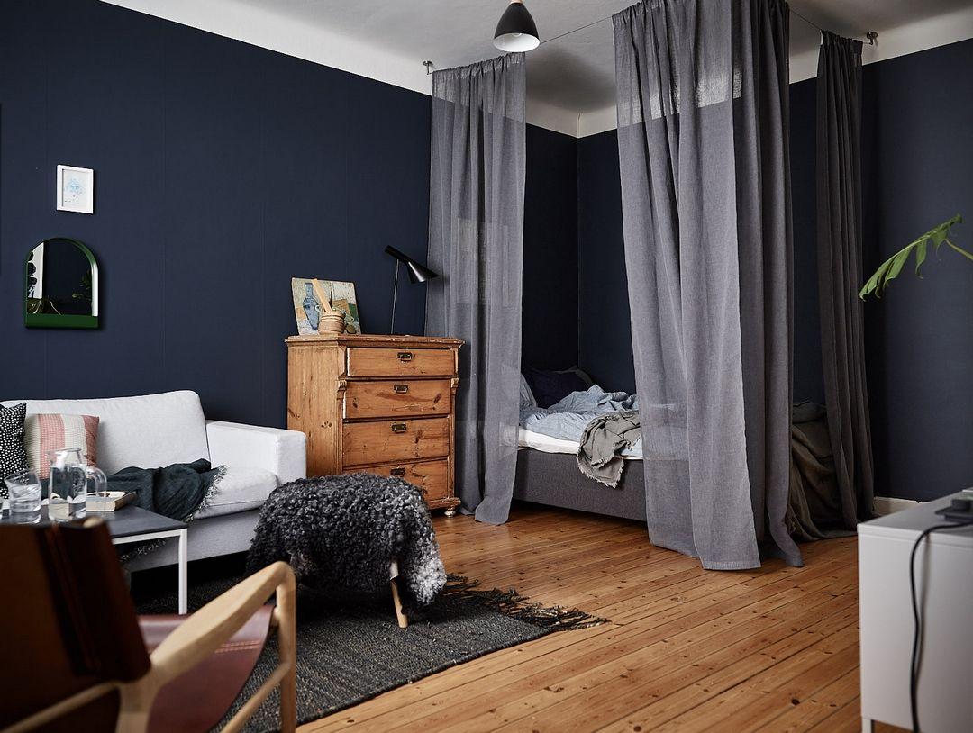 DES MURS BLEU NUIT  Chambre bleue nuit, Chambre à coucher couleur