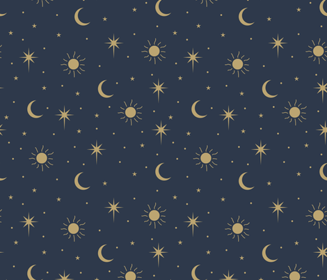 Colorful Fabrics Digitally Printed By Spoonflower Mystic Universe Sun Moon Phase And Stars Sweet Dreams Night Navy Blue Gold Large Moon And Stars Wallpaper Witchy Wallpaper Ravenclaw Aesthetic