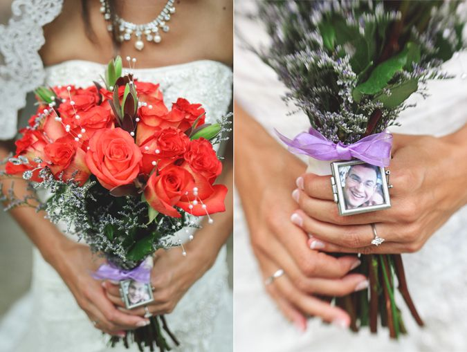 The bride honored her cousin —killed in a tragic accident just a few years back— by attaching his photo to her bouquet. Abi S Photography, Northeast Michigan Weddings.