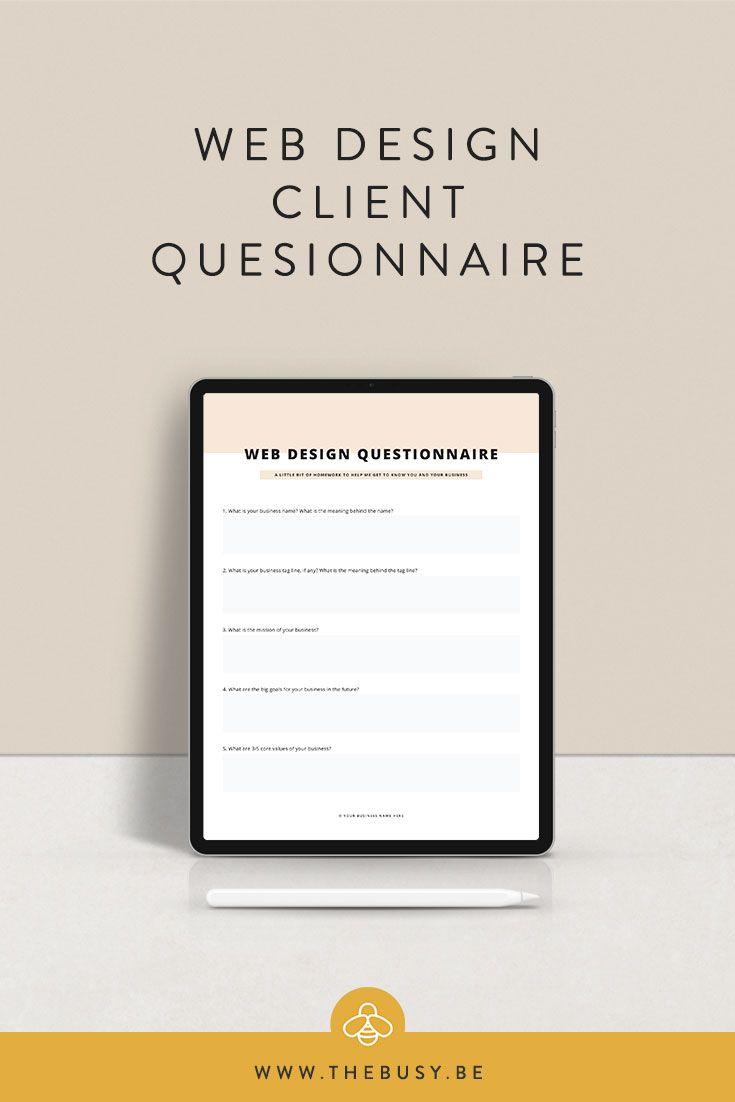 Client Questionnaire The Busy Bee Web Design Quotes Design Clients Web Design