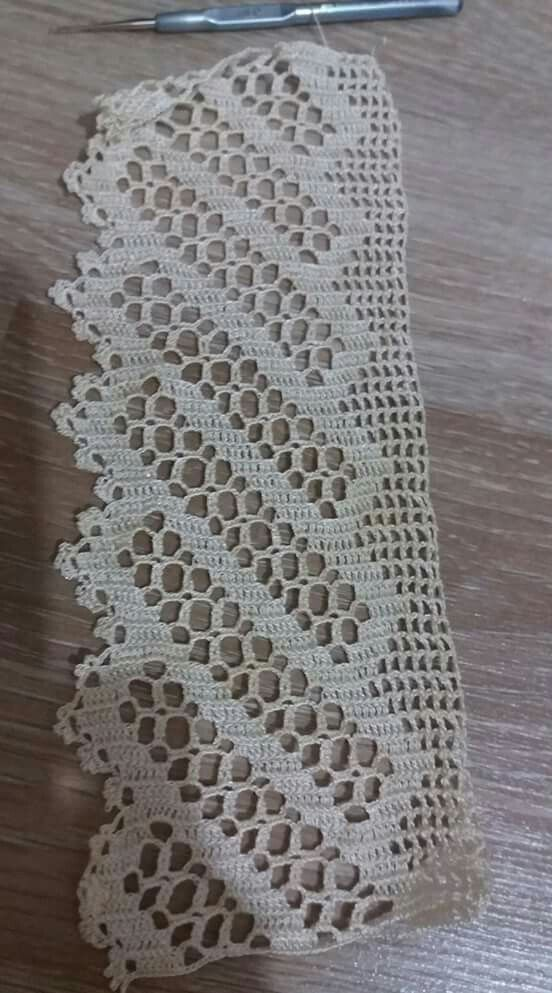 Cenefa tejida a crochet puntillas de ganchillo pinterest cenefa ganchillo y tejido - Cenefas de crochet ...