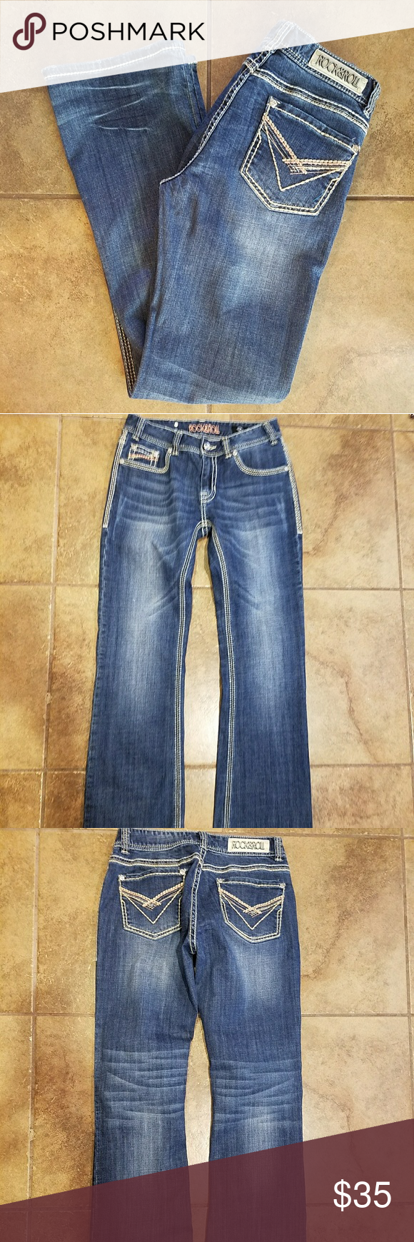 c60f3593193 Rock   Roll Cowgirl Denim Jeans Gently used