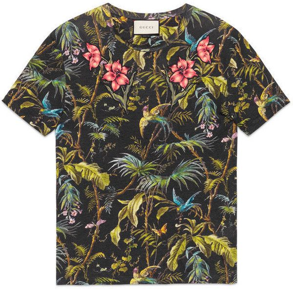 853870a1 Gucci Tropical Print Linen T-Shirt ($520) ❤ liked on Polyvore featuring  men's