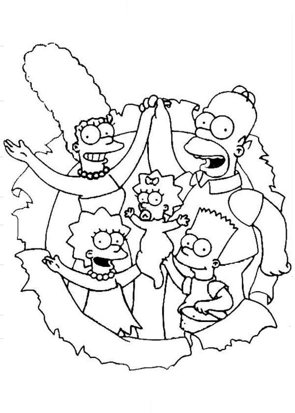 The Simpsons The Movie Coloring Page Coloring Sun In 2020 Cartoon Coloring Pages Family Coloring Pages Coloring Books