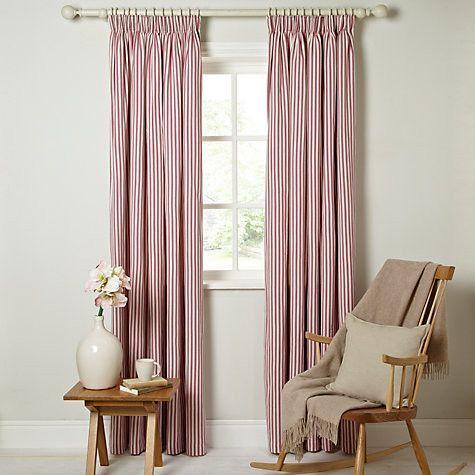 Ticking Curtains Striped Pencil Headed Red Amp White