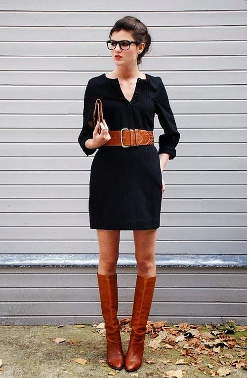 Gorgeous black dress wıth brown belt and long boots @Jana Martens ...