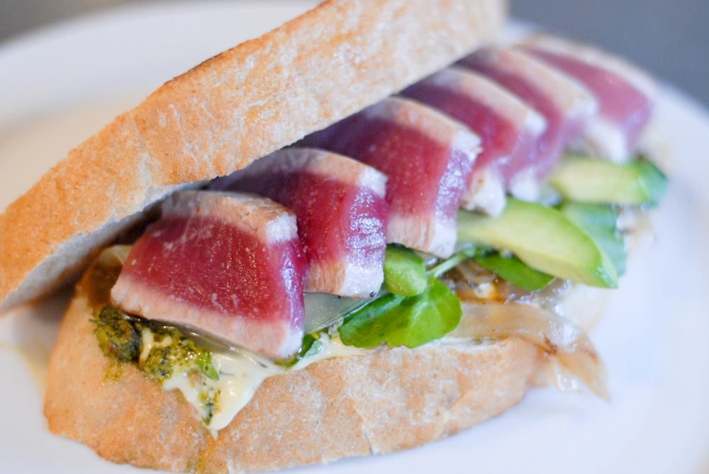 Seared Ahi on Grilled Rye Bread with Avocado, Caramelized